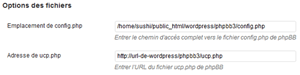 Options des fichiers WP phpBB Bridge
